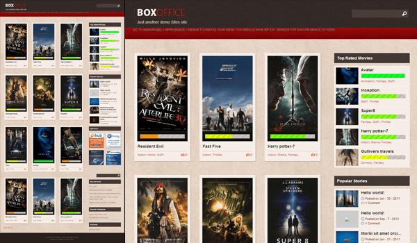 BoxOffice 10+ Ücretsiz Wordpress Film Temaları