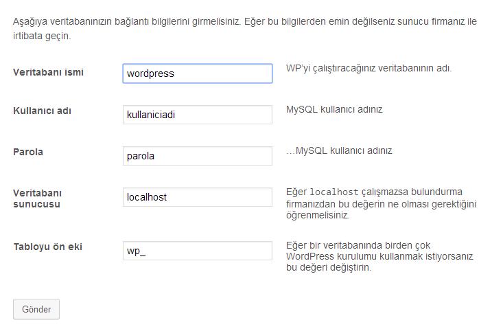 veritabanı şifre kullanıcı adı girme Wp kurulumu resimli anlatım
