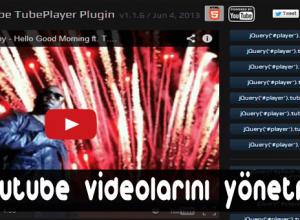Sitedeki ikonlarla Youtube videolarını yönetme - TubePlayer