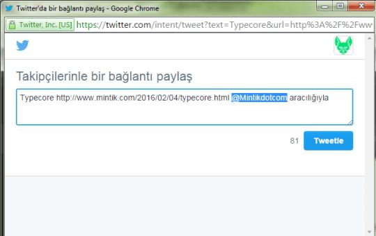 paylaşıldığında twite kulanıcı ismi eklenmesi Typecore
