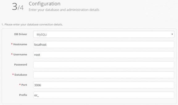 Enter your database and administration details min Markanızın ürünlerini internetten satın   OpenCart