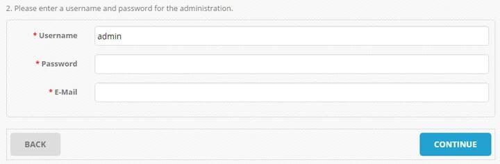Please enter a username and password for the administration. min Markanızın ürünlerini internetten satın   OpenCart