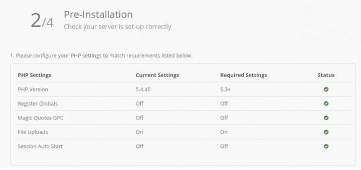 pre installation php version 5 min Markanızın ürünlerini internetten satın   OpenCart