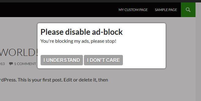 Anti-block adblock görüntüsü