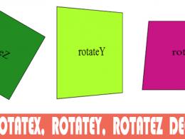 RotateX, rotateY ve rotateZ değerleri