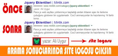 web site logosu ve yazar ismi