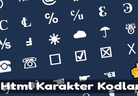html sembol karakter boşluk nokta virgül telif hakkı icon kodu