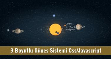 html css javascript jquery 3 boyutlu gunes sistemi solar system 3 Boyutlu Güneş Sistemi